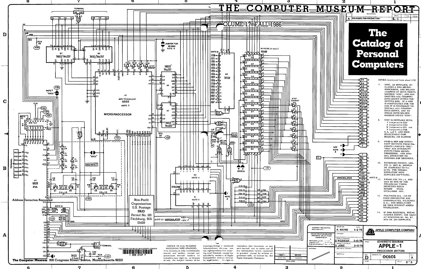 apple 1 schematic 3 10 76 apple i schematic the wiring diagram readingrat net Basic Electrical Wiring Diagrams at alyssarenee.co