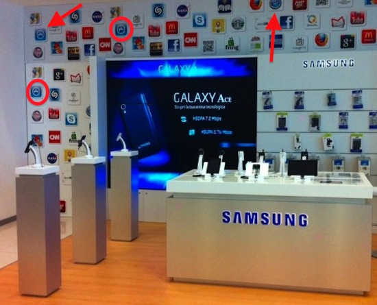samsung shopping display makes use of proprietary apple icons edible apple. Black Bedroom Furniture Sets. Home Design Ideas